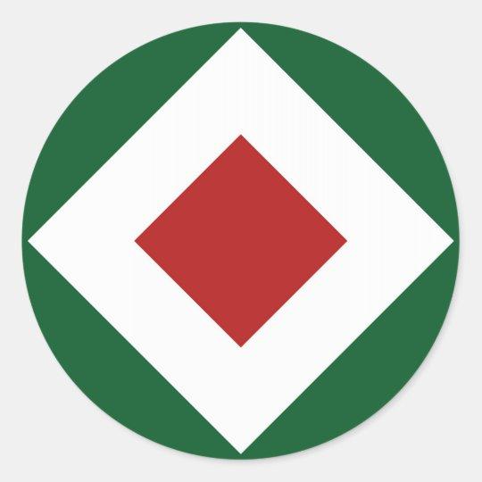 Red Diamond, Bold White Border on Green Classic Round Sticker