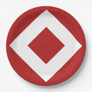Red Diamond, Bold White Border Paper Plate
