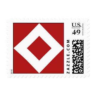 Red Diamond, Bold White Border Postage