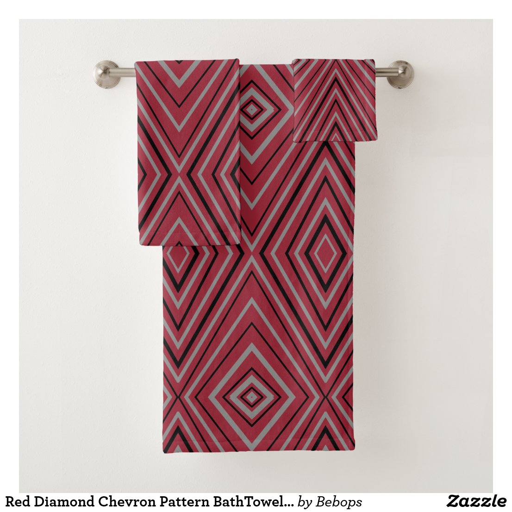 Red Diamond Chevron Pattern BathTowel Set