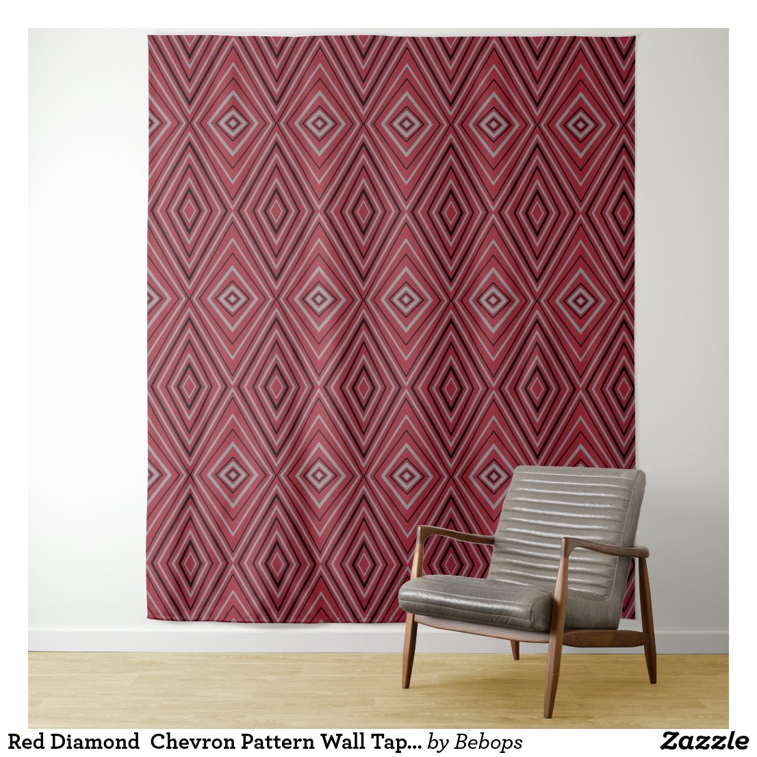 Red Diamond  Chevron Pattern Wall Tapestry