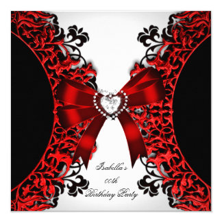 Red Diamond Heart Red Black White Birthday Party Card