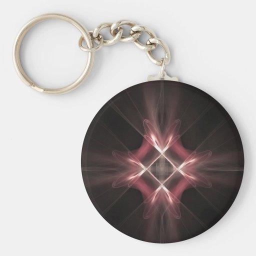 Red Diamond Light Fractal Art Key Chain
