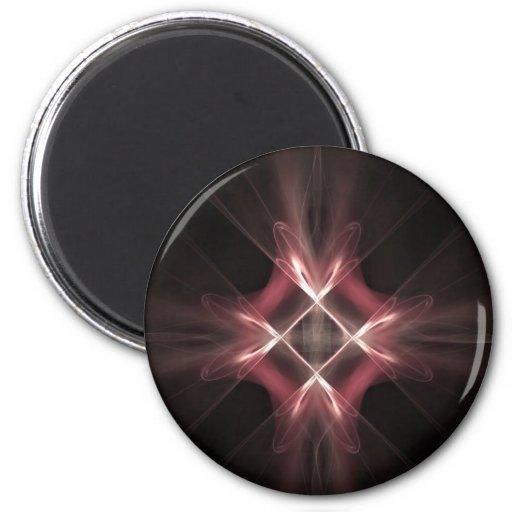 Red Diamond Light Fractal Art Magnet