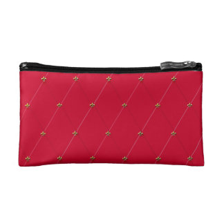 Red Diamond Pattern with Gold Fleur-de-lis Makeup Bags