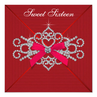 Red Diamond Red Sweet 16 Birthday Party Card