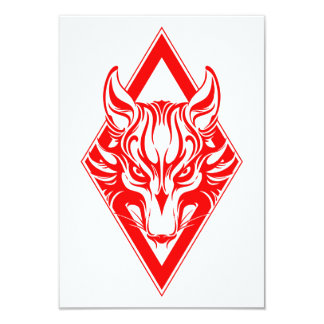 Red Diamond Wolf Face Graphic Custom Announcements