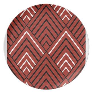 Red Diamonds Melamine Plate