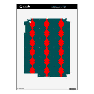 Red Diamonds on Green Decal For iPad 2