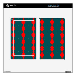 Red Diamonds on Green Kindle Fire Decals