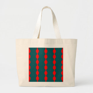 Red Diamonds on Green Large Tote Bag