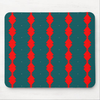 Red Diamonds on Green Mouse Pad