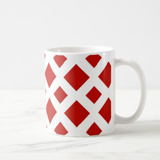 Red Diamonds on White Coffee Mug