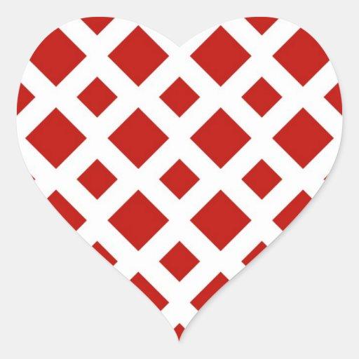 Red Diamonds on White Heart Sticker
