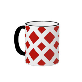 Red Diamonds on White Coffee Mugs