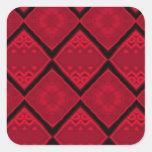 red diamonds pattern square sticker