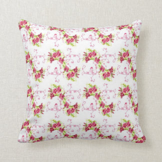 Red Dianthus Flower Watercolor Floral Art Pillow