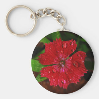 Red Dianthus With Raindrops Basic Round Button Keychain