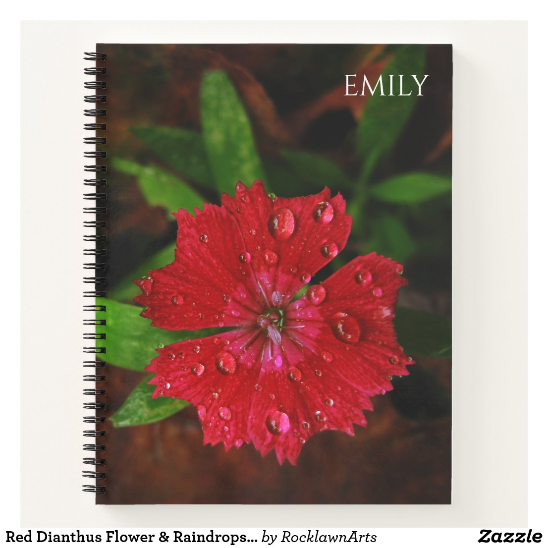 Red Dianthus With Raindrops, Custom Name Notebook