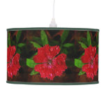 Red Dianthus With Raindrops Hanging Lamp
