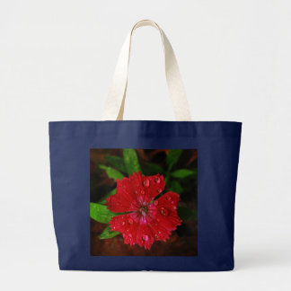 Red Dianthus With Raindrops Large Tote Bag