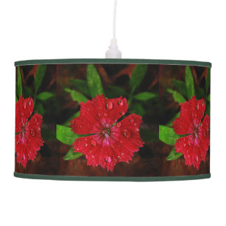 Red Dianthus With Raindrops Pendant Lamp
