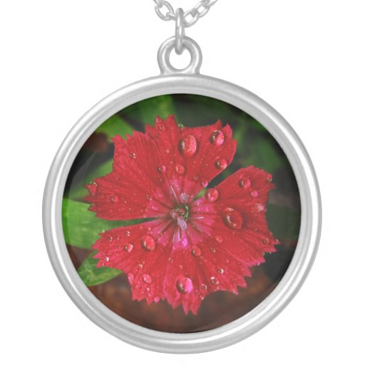 Red Dianthus With Raindrops Personalized Necklace