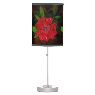 Red Dianthus With Raindrops Table Lamp