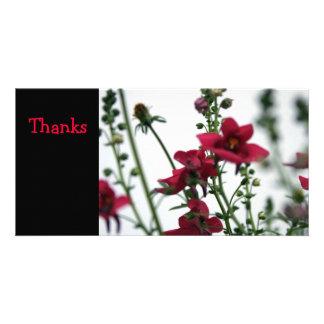 Red Diascia Floral Sympathy Thank You Photo Card