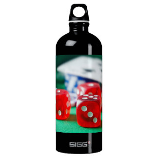 Red Dice and Playing Cards Closeup Aluminum Water Bottle