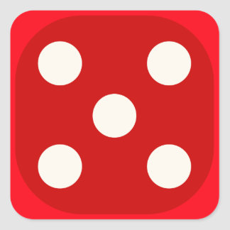 Red Dice Die Roll Five Square Seal Square Sticker