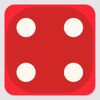Red Dice Die Roll Four Square Seal Square Sticker