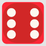"""Red Dice Die Roll Six Square Seal<br><div class=""""desc"""">A decorative closure for envelopes and gift bags.  Use dice stickers as unusual numerical labels.</div>"""