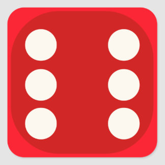 Red Dice Die Roll Six Square Seal