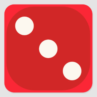 Red Dice Die Roll Three Square Seal Square Sticker