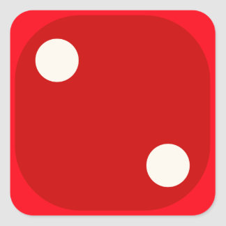 Red Dice Die Roll Two Square Seal Square Sticker