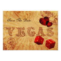 red dice Vintage Vegas save the date Card
