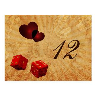 red dice Vintage Vegas table numbers Postcard