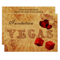 red dice Vintage Vegas wedding invites