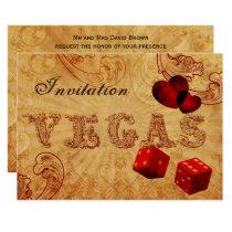 red dice Vintage Vegas wedding invites