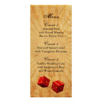 red dice Vintage Vegas wedding menu