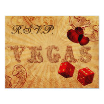 red dice Vintage Vegas wedding rsvp Card