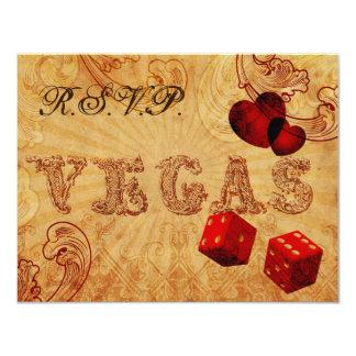 red dice Vintage Vegas wedding rsvp Card