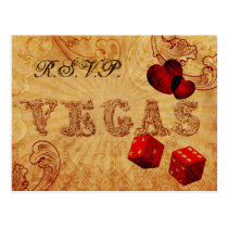 red dice Vintage Vegas wedding rsvp Postcard