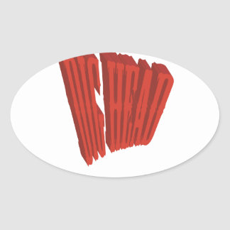 Red Dig Head Dry Brush Oval Sticker