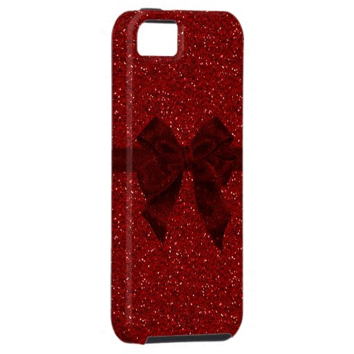Red Digital Glitter & Bow iPhone 5 Case iPhone 5 Cover