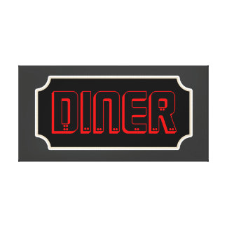 Red Diner Sign Canvas