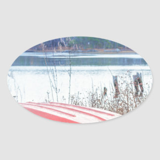 Red Dingy Maine Oval Sticker