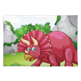 Red dinosaur in the park placemat