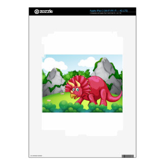 Red dinosaur in the park skin for iPad 3